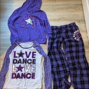 Purple dance set pajamas and hoodie.
